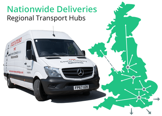The Courier Company Nationwide delivery van and UK map